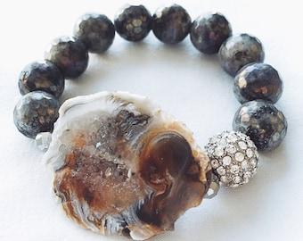 Labradorite, druzy and hematite bracelet