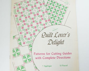 Vintage Aunt Martha's QUILT LOVER'S DELIGHT Patterns Quilting Booklet 10 Pieced 7 Applique No.3540