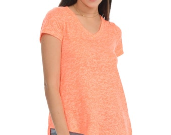 Coral V-Neck Tail Tee