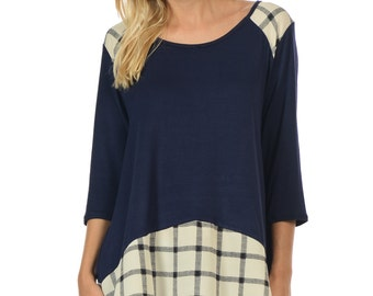 Plaid Block 3/4th Sleeve Tunic - Available In Navy, Black, Green & Red.