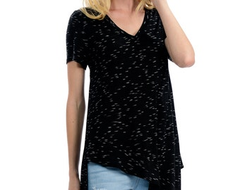 Black V-Neck Tail Tee