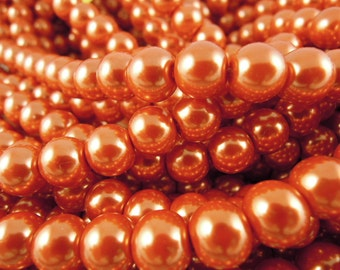CP-Deep Carrot Orange Glass Pearls by Lady Pruchez tm #70