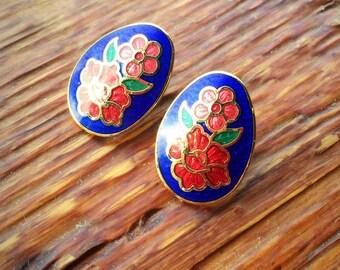 Cloisanne Enamel Flower Stud Earrings