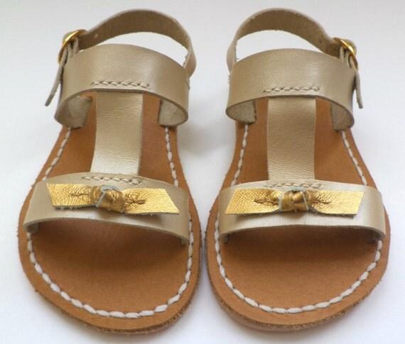 Children Beige/Gold Bow Leather Sandals, Summer sandals,Girls Sandals
