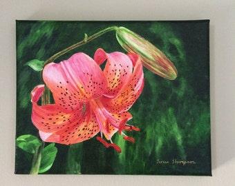 Coral Daylily Flower Original Acrylic Painting, lily painting, lily flower art, lily art, daylily art, garden flower art, summer flowers