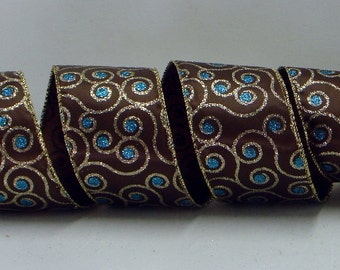 Wired Christmas Ribbon ~ 2-1/2 inch Brown Wired Ribbon With Gold & Turquoise Glitter ~ 3 Yards