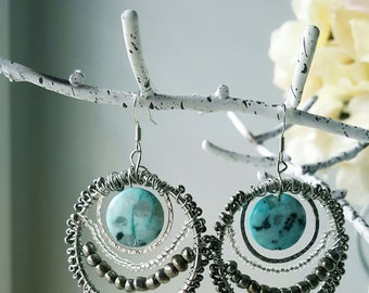 Turquoise and Silver Wired Earrings