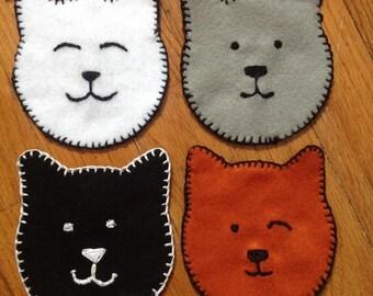 Kitty Cat Hand Stitched Felt Coasters (set of 4)