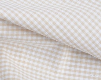 Vichy fabric beige checkered 2.5 mm Eco-Tex standard 100