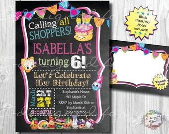 SHOPKINS ChalkBoard Birthday Invitation- Printable - Invites - Digital Print - Girls Birthday Party