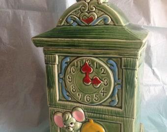 Clock mouse cookie jar