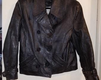 Vintage Hudson Women's Black Leather Pea Coat Size S