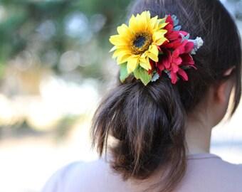 Yellow Sunflower and Burgundy Flowers