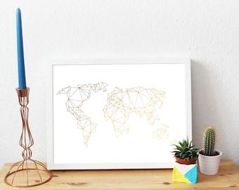 World map, Geometric, Globe, Gold Foil Print, A4, Gift, Illustration Art Print