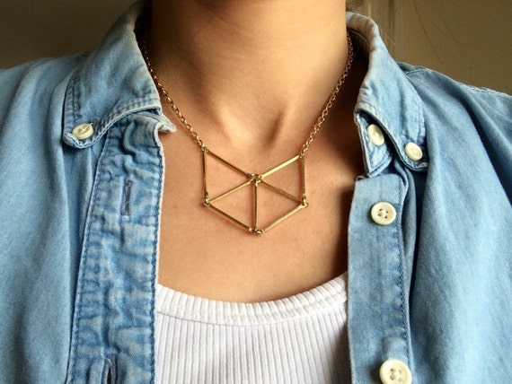 Brass geometric short necklace triangles, fox - N104S