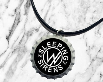 Sleeping With Sirens - Bottle top charm necklace   pop punk rock band logo