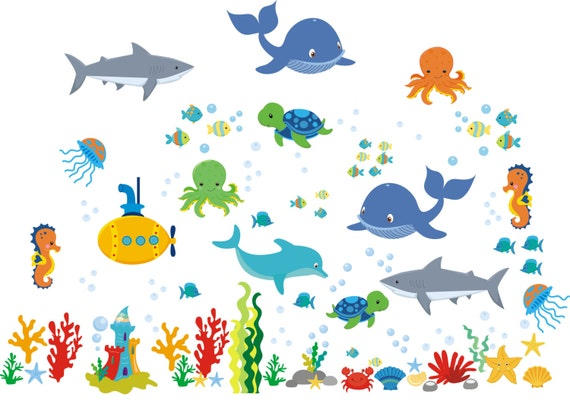 aquarium nursery decals oceanic wall decals whale decal