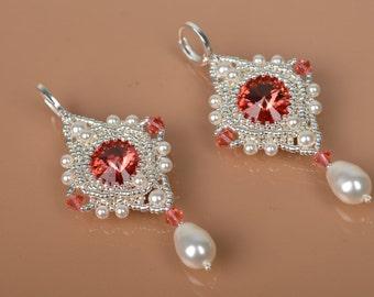 Bridal Wedding Jewelry Earrings Long and Dangle Pearl Earrings Swarovski Red Crystal  Exclusiv Silver Jewelry Earrings