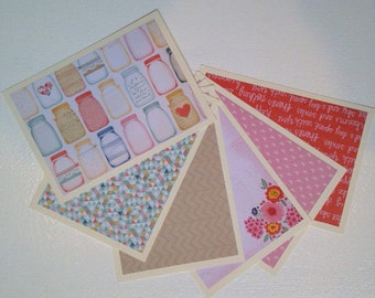 Set of 6 Flat Blank Note Cards with Matching Envelopes Stationary Set