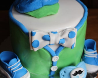 Baby shower, baby boy shoes, bow tie and pacifier bundle