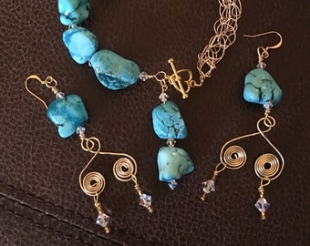 Turquoise Stone with Swarovski Crystals bracelet and earrings