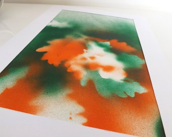 Green, Orange, Abstract Oak Leaves Print, Mounted Original Artwork