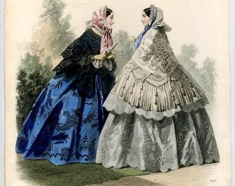 Fashion print: Go for a walk in a crinoline, 1856
