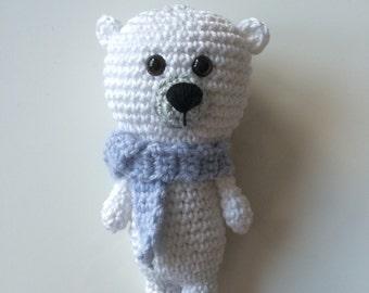Ready to ship -  Cute white polarbear with shawl crochet stuffed amigurumi cute animal toy