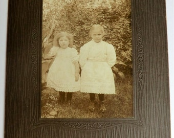 Two Little Girls Antique Photo Eyelet Dresses Darn Cute