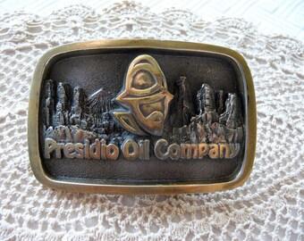 Presidio Oil Company  ...  Heavy Metal Vintage Advertising Souvenir Belt Buckle , Made in USA
