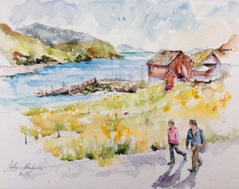 "Original Watercolour - Delivery free ""trip to Greenland"" (nature hiking sea freshness landscape)"