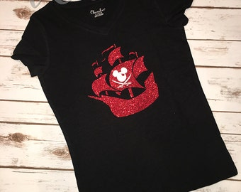 Disney Family Pirate Tee • Youth Tee • Short Sleeve V-Neck • Sizes S-L.