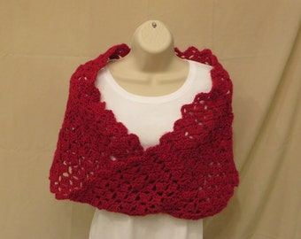 Little Red Shrug Infinity Shawl Scarf Mobius