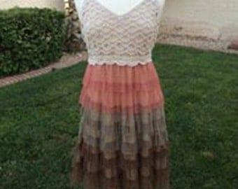 PLUS SIZE Cream Lace Ruffle Dress