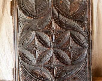 Old antique french carved wooden panel 16th or 17th century