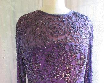 beaded silk party dress, Oleg Cassini Black tie, purple  beaded upper, chiffon layered skirt, knee length, long sleeves, excellent condition