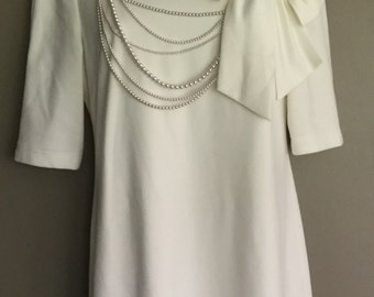 Modern does Vintage Adrianna Papell Bridal Shower, Rehearsal, Wedding, Pearls & Bow, Half Sleeve Wiggle Dress