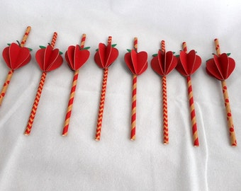 Set of 8 Strawberry Straws ~ 3 D for your special event