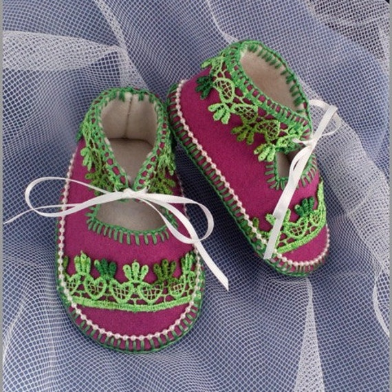 Little Exotic Pure Wool Felt Baby Shoes. Fully Lined. Gift Boxed. 0-3 months OOAK