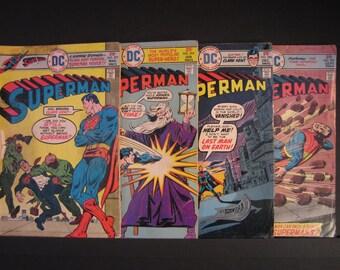 4 Superman DC comics, #291 Vol. 37 Sept 1975 F, #294 Vol. 37 Dec 1975 F-, #295 Vol. 38 Jan 1976 VG+, #297 Vol. 38 Mar 1976 VG-