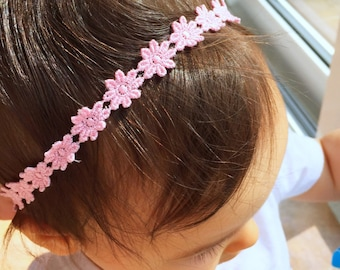 Pink Flower Halo Headband, baby girl, girl toddler, newborn photo prop, headband, halo headband, baby gift