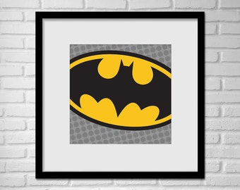 Superhero Batman Pop Art Wall Art / Batman Logo Pop Art / Batman Logo / Batman