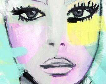 Fashion illustration art print, portrait, oil painting by Nana artfully made