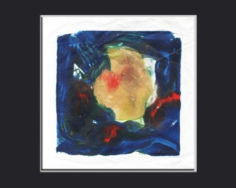 encaustic Mothers Day art painting original art monoprint  title: INNER SOUL 1.1  gold blue red