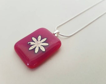 Pink and Silver Floral Fused Glass Pendant