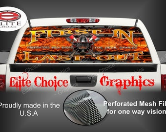 FireFighter First In Devil Walk Rear Window Graphic Tint Decal Sticker Truck SUV Van Car