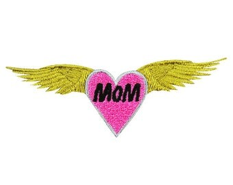 Mothers Day Mom Heart Wings Embroidery Design