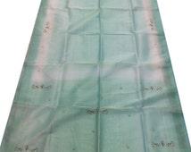 Free Shipping Green Antique Vintage Sari Tissue Saree Zari/Zardozi/Dabka Work Decor Wrap Indian Fabric Craft Clothing Sarong 5Yard MD106