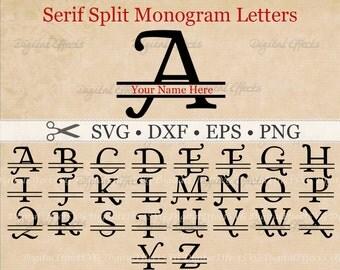 SERIF SPLIT MONOGRAM Svg, Dxf, Eps, Png Files, Serif Swash Split Font Alphabet Digital, Silhouette, Split Monogram Svg, Cut Files,Cricut