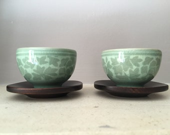 Tiny Vintage Korean Ceramic Teacups with Wooden Coasters (Set of 2)